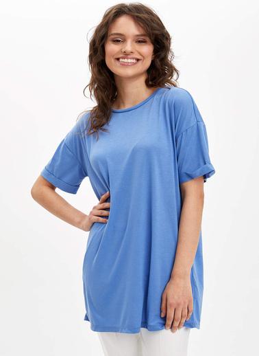 DeFacto Basic Kısa Kollu T-Shirt Mavi
